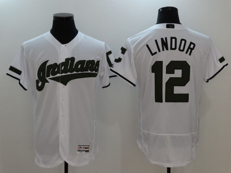 Men Cleveland Indians 12 Francisco Lindor White Elite MLB Jerseys