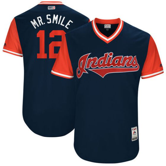 Men Cleveland Indians 12 Mr.smile Blue New Rush Limited MLB Jerseys