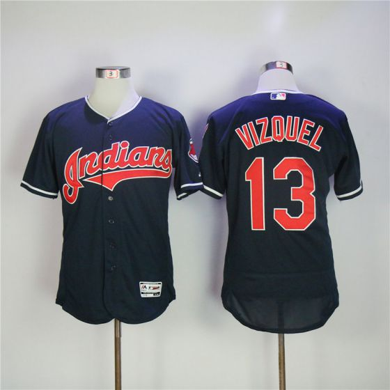 Men Cleveland Indians 13 Vizquel Blue Elite MLB Jerseys