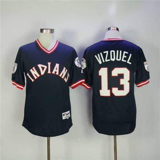 Men Cleveland Indians 13 Vizquel Blue MLB Jerseys