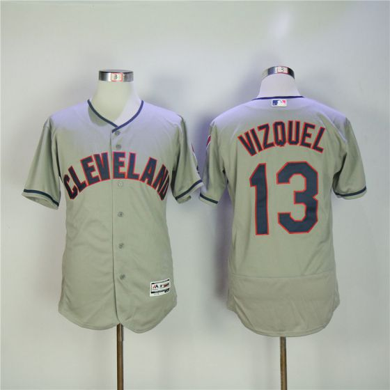 Men Cleveland Indians 13 Vizquel Grey Elite MLB Jerseys