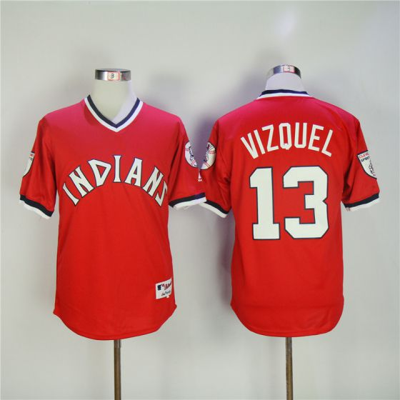 Men Cleveland Indians 13 Vizquel Red MLB Jerseys