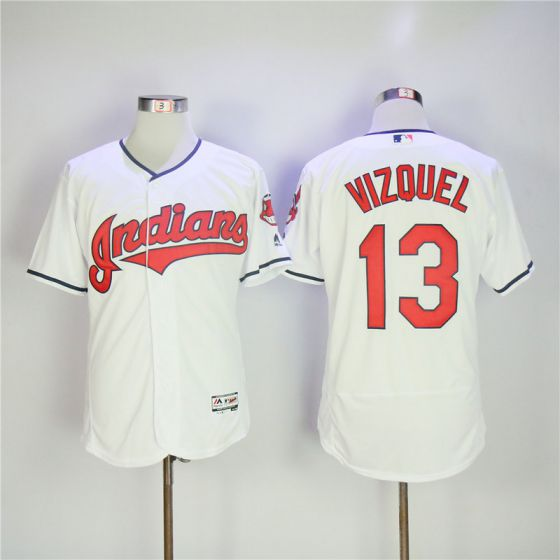 Men Cleveland Indians 13 Vizquel Whtie Elite MLB Jerseys