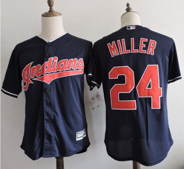Men Cleveland Indians 24 MILLER Blue MLB Jerseys