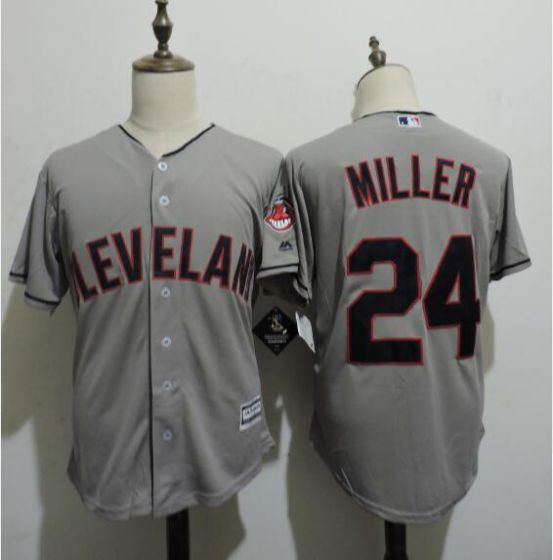 Men Cleveland Indians 24 MILLER Grey MLB Jerseys