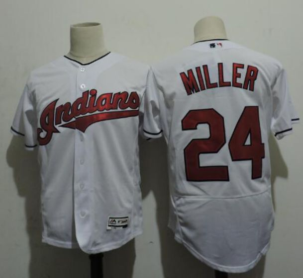 Men Cleveland Indians 24 MILLER White Elite MLB Jerseys