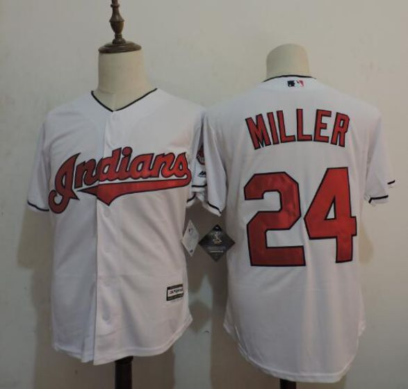 Men Cleveland Indians 24 MILLER White MLB Jerseys
