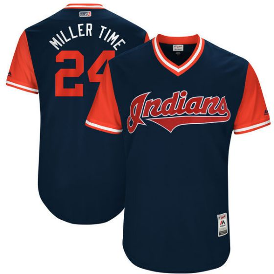 Men Cleveland Indians 24 Miller Time Blue New Rush Limited MLB Jerseys