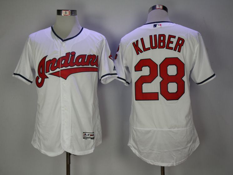Men Cleveland Indians 28 Corey Kluber White Elite MLB Jerseys