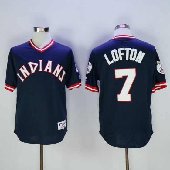 Men Cleveland Indians 7 Kenny Lofton Blue Throwback MLB Jerseys