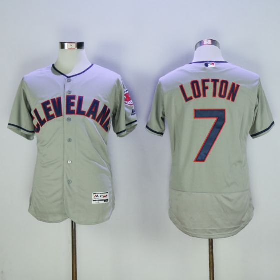 Men Cleveland Indians 7 Kenny Lofton Grey Elite MLB Jerseys
