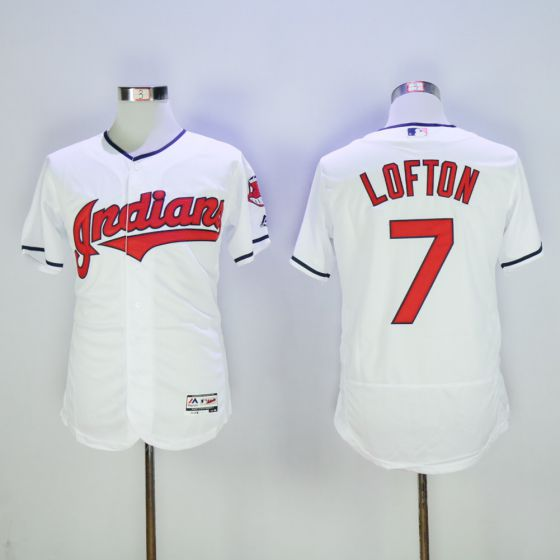 Men Cleveland Indians 7 Kenny Lofton White Elite MLB Jerseys