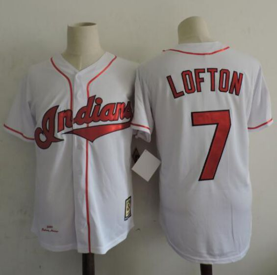 Men Cleveland Indians 7 Kenny Lofton White Throwback 1995 MLB Jerseys