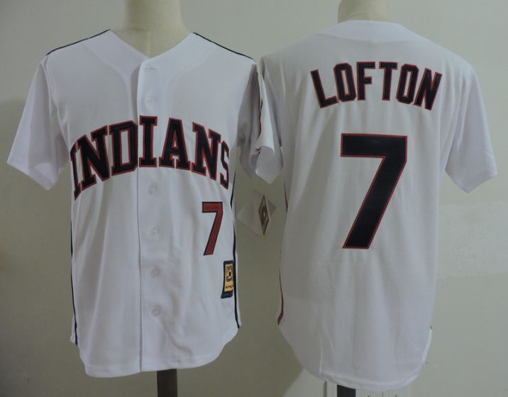Men Cleveland Indians 7 Kenny Lofton White Throwback MLB Jerseys