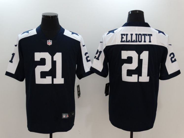 Men Dallas Cowboys 21 Elliott Blue Thanksgiving Nike Vapor Untouchable Limited NFL Jerseys