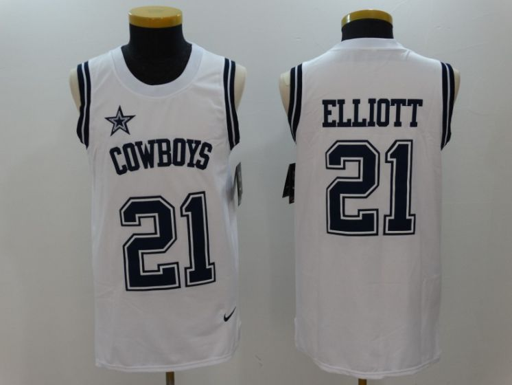 Men Dallas Cowboys 21 Ezekiel Elliott White Rush Player Name Number Tank Top stitched NFL Jerseys