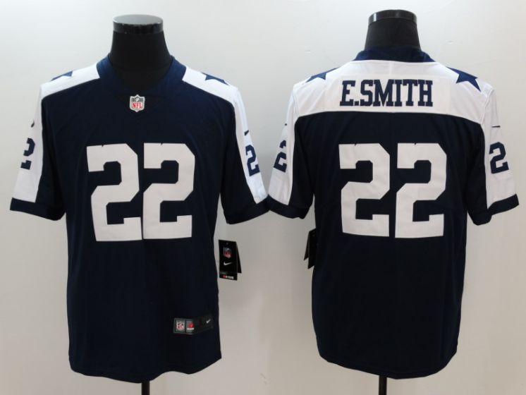 5ab95fcb6c4 Men Dallas Cowboys 22 E.Smith Blue thanksgiving Nike Vapor Untouchable Limited  NFL Jerseys