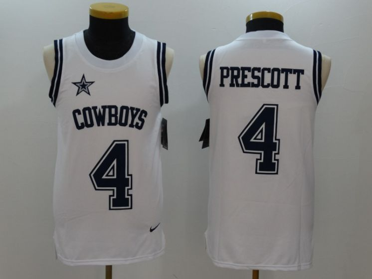 Men Dallas Cowboys 4 Dak Prescott White Rush Player Name Number Tank Top stitched NFL Jerseys