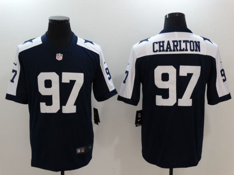 Men Dallas Cowboys 97 Taco Charlton Blue thanksgiving Nike Vapor Untouchable Limited NFL Jerseys