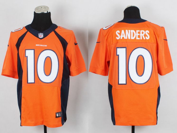 Men Denver Broncos 10 Sanders Orange Elite Nike NFL Jerseys