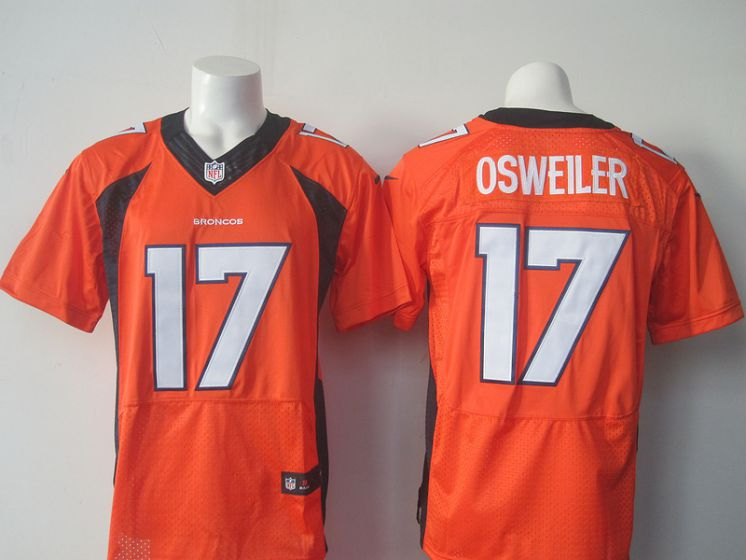 Men Denver Broncos 17 Brock Osweiler Orange Elite Nike NFL Jerseys