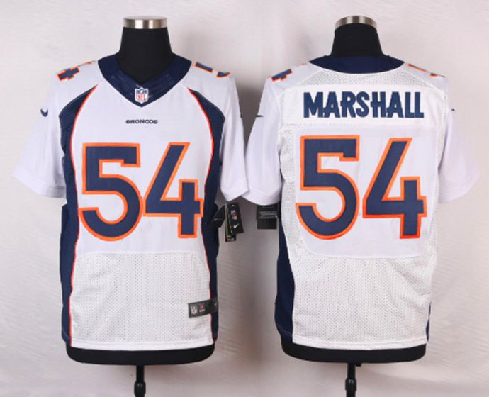 Men Denver Broncos 54 Marshall White Elite Nike NFL Jerseys