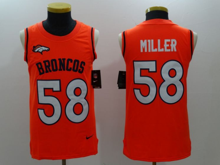 Men Denver Broncos 58 Von Miller Orange Rush Player Name Number Tank Top stitched NFL Jerseys