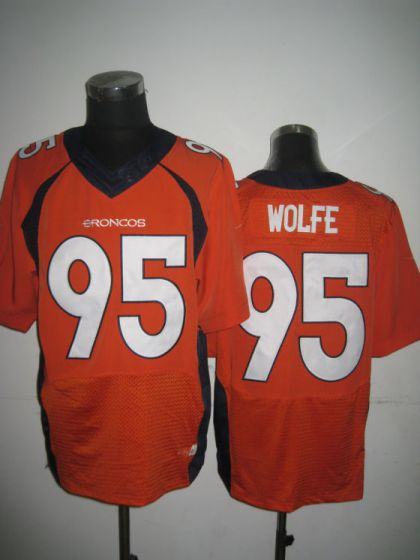 Men Denver Broncos 95 Derek Wolfe Orange Elite Nike NFL Jerseys