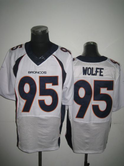 Men Denver Broncos 95 Derek Wolfe White Elite Nike NFL Jerseys