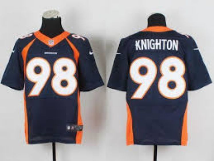 Men Denver Broncos 98 Knighton Blue Elite Nike NFL Jerseys