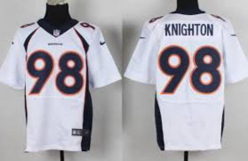 Men Denver Broncos 98 Knighton White Elite Nike NFL Jerseys