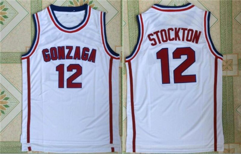 Men Gonzaga 12 John Stockton White NBA NCAA Jerseys