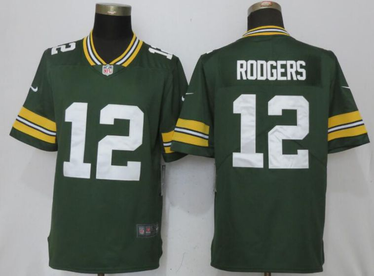 Men Green Bay Packers 12 Rodgers Green Nike Vapor Untouchable Limited NFL Jerseys