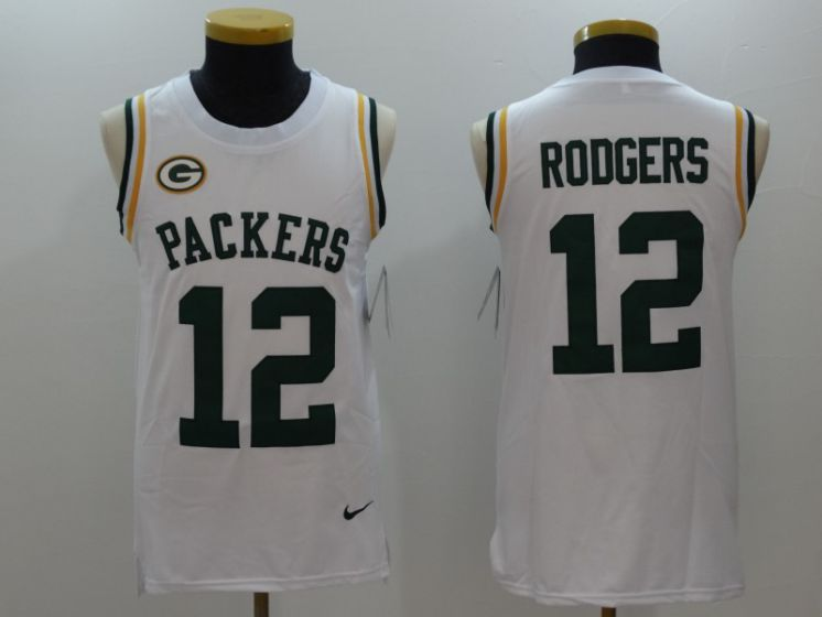 Men Green Bay Packers 12 Rodgers White Rush Player Name Number Tank Top stitched NFL Jerseys