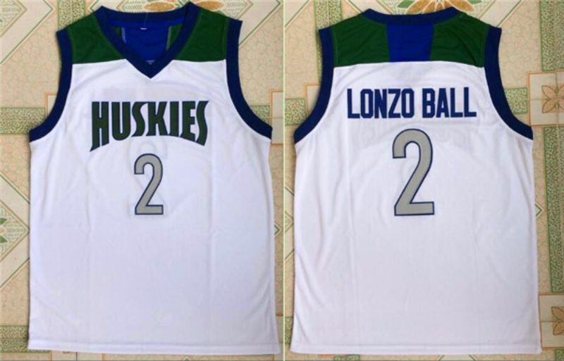 Men HUSKIES High School 2 Lonzo Ball White NBA NCAA Jerseys