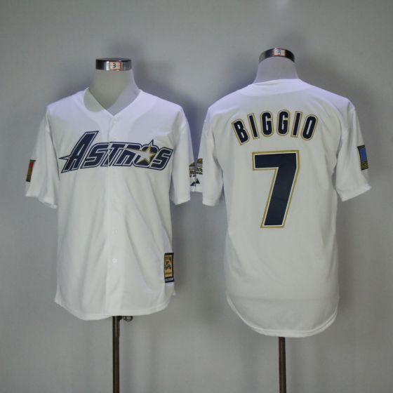 Men Houston Astros 7 Craig Biggio White Game 1981 MLB Jerseys