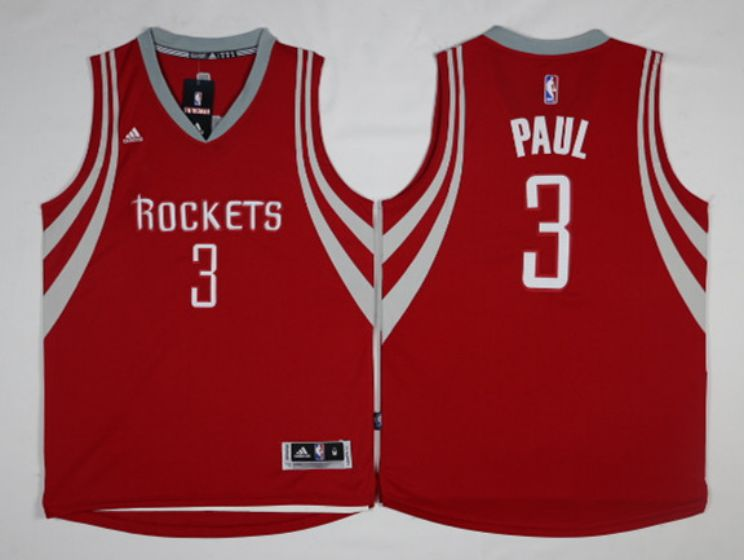 Men Houston Rockets 3 Paul Red NBA Jerseys