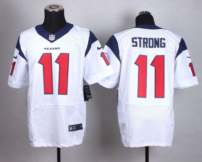 Men Houston Texans 11 Strong White Elite Nike NFL Jerseys