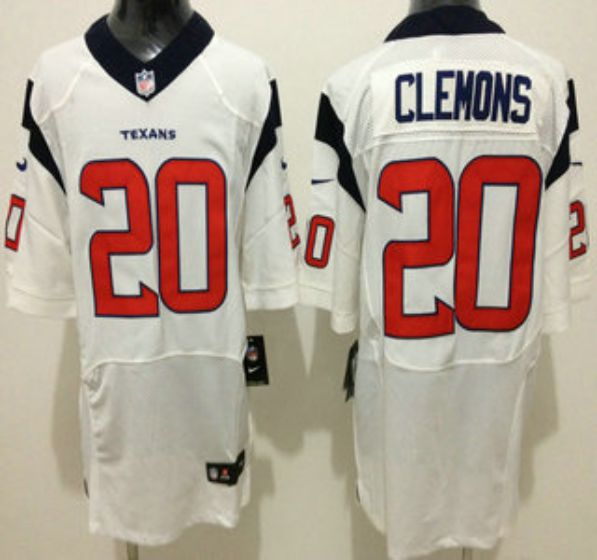 Men Houston Texans 20 Clemons White Elite Nike NFL Jerseys