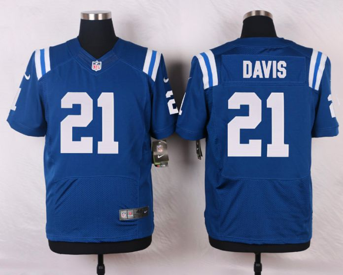 Men Indianapolis Colts 21 Vontae Davis Blue Elite Nike NFL Jerseys