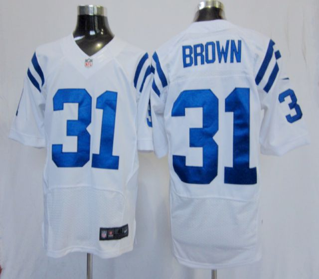 Men Indianapolis Colts 31 BROWN White Elite Nike NFL Jerseys