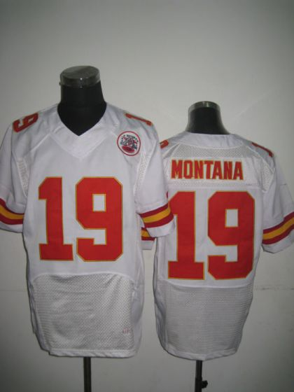 Men Kansas City Chiefs 19 Joe Montana White Elite Nike NFL Jerseys
