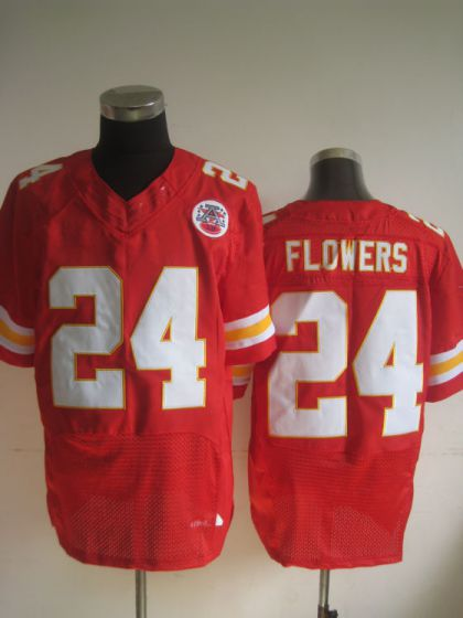 Men Kansas City Chiefs 24 Flowers Red Elite Nike NFL Jerseys