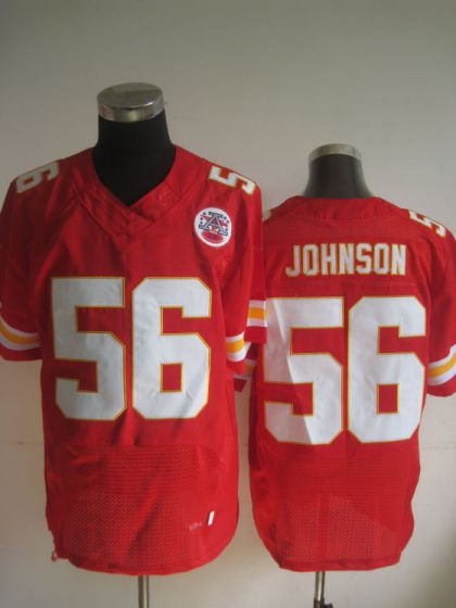 Men Kansas City Chiefs 56 Derrick Johnson Red Elite Nike NFL Jerseys