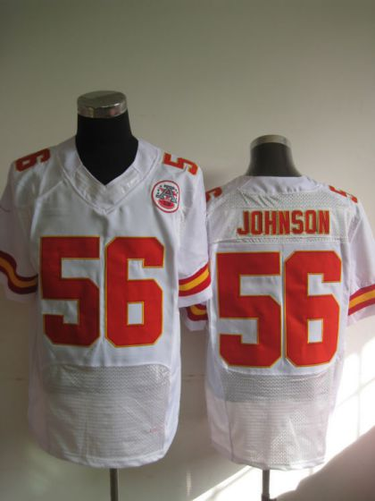 Men Kansas City Chiefs 56 Derrick Johnson White Elite Nike NFL Jerseys