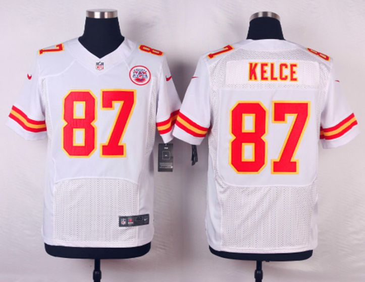Men Kansas City Chiefs 87 Travis Kelce White Elite Nike NFL Jerseys