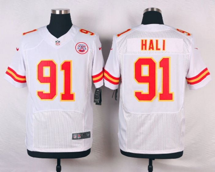 Men Kansas City Chiefs 91 Tamba Hali White Elite Nike NFL Jerseys