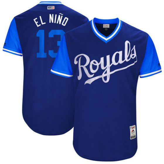 Men Kansas City Royals 13 El nino Blue New Rush Limited MLB Jerseys