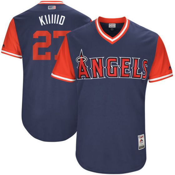 Men Los Angeles Angels 27 Kiiiiid Blue New Rush Limited MLB Jerseys
