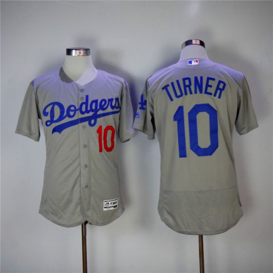 Men Los Angeles Dodgers 10 Justin Turner Grey Elite MLB Jerseys